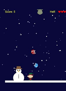 基于canvas的圣诞节可爱的小人抓礼物小游戏源码