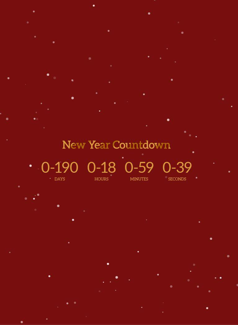 酷炫的canvas下雪动画场景新年倒计时源码