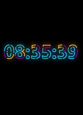 个性的色霓虹灯文字时钟动画特效