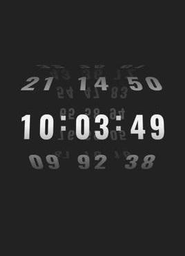 酷炫的3D立体数字滚动时钟特效
