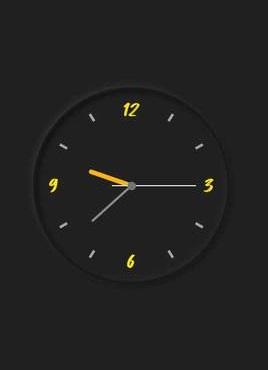 黑色的css3圆形时钟特效