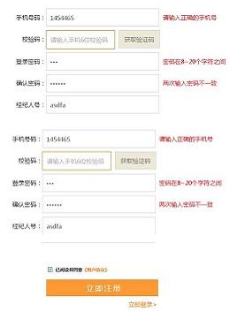 实用的手机注册表单验证注册特效