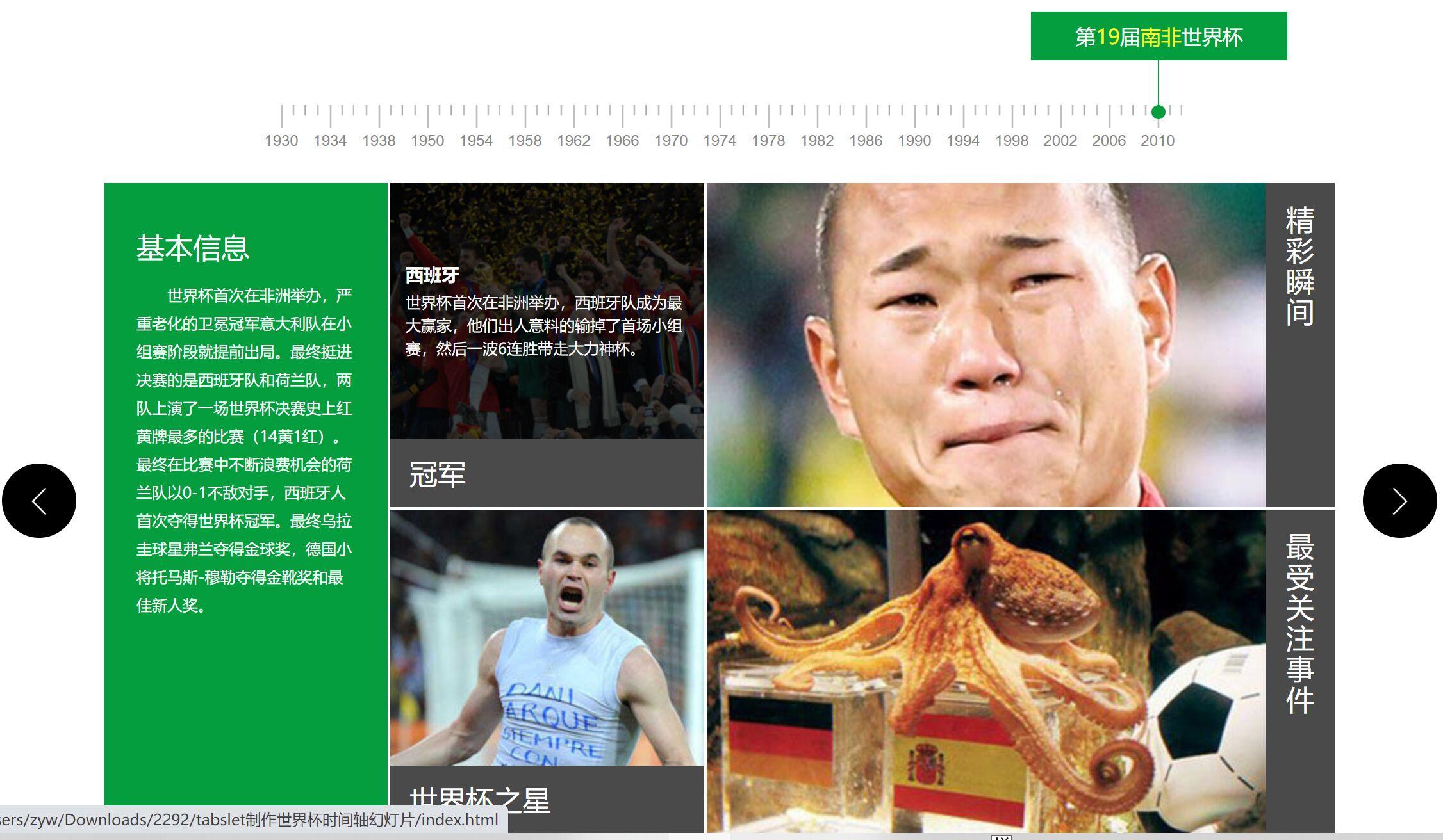 酷炫的世界杯时间轴幻灯片特效