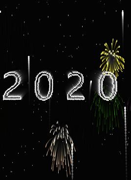 炫酷的庆祝2020年烟花动画单页模板