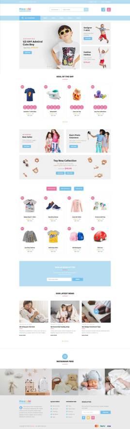 蓝色的响应式卡通儿童商店电商网站模板