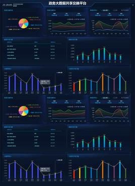 蓝色的政务共享平台大数据页面模板