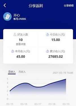 蓝色的手机移动端个人中心收入曲线图表页面