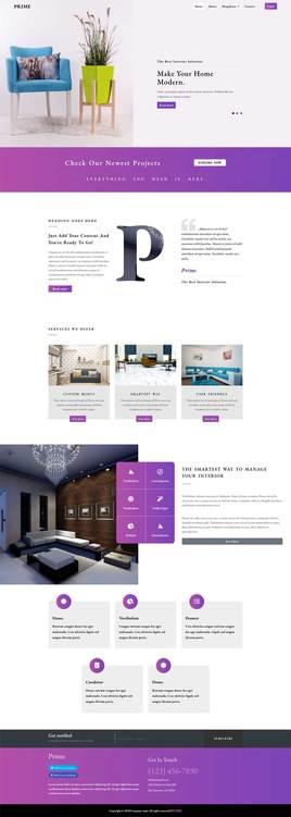 紫色的响应式家居装饰公司网站html模板